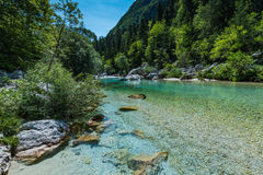 Soca river in Triglav National Park, Slovenia Royalty Free Stock Photography