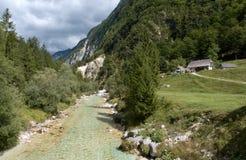Soca River Valley nel parco nazionale di Triglav nelle alpi di Julan Fotografia Stock