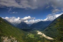 Soca valley. As seen from waterfall Boka, Bovec, Slovenia Royalty Free Stock Photos