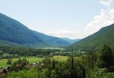 Soca Valley Near Kobarid. The Alpine landscape near the Slovenian village of Kobarid in the Littoral region Stock Images