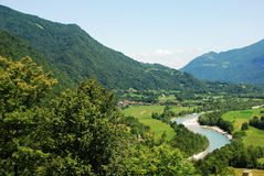 Soca Valley Near Kobarid. The Alpine landscape near the Slovenian village of Kobarid in the Littoral region. The Soca River, which flows through Slovenia and Royalty Free Stock Photos