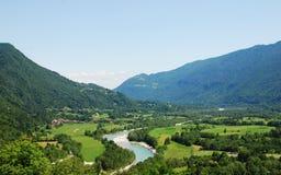 Soca Valley Near Kobarid. The Alpine landscape near the Slovenian village of Kobarid in the Littoral region. The Soca River, which flows through Slovenia and Stock Photos