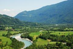 Soca Valley Near Kobarid 3. The Alpine landscape near the Slovenian village of Kobarid in the Littoral region. The Soca River, which flows through Slovenia and Stock Photo