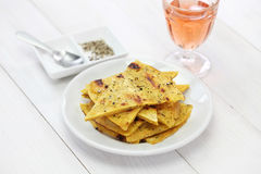 Socca, farinata, chickpea pancake Royalty Free Stock Photos