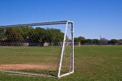 Soccar goal. Football/Soccer goal outside on a bright sunny day, on a nice green field Royalty Free Stock Images