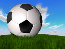 Soccer. Ball with clouds background 3d and grass Stock Photography