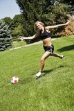 Soccer. Model Release 358  Teenage girl playing soccer Royalty Free Stock Photo
