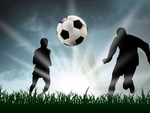 Soccer. Any teenager are playing soccer in the grass Stock Photos