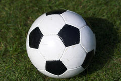Soccer. Classic soccer ball laid out on grass stock image
