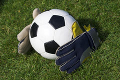 Soccer. Classic soccer ball and gloves laid out on grass stock image