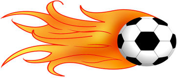 Soccer. Illustration of soccer ball with flames. Note: There is a little variation in the vector version of this. I had to redraw in AI to get it in vector form Royalty Free Illustration