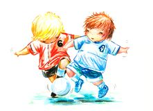 Soccer. Two boys play soccer.Picture I have created myself with watercolors and colored pencils Royalty Free Stock Image