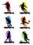 Soccer. Grunge style soccer player silhouette vector Stock Images