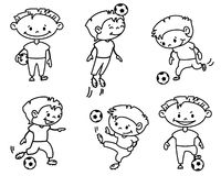 Soccer. Footballer (soccer player) set, doodle version Royalty Free Stock Photo