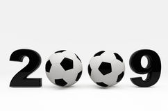 Soccer 2009 ball background. Fine 3d image of 2009 background with soccer ball Royalty Free Stock Image