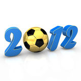 Soccer 2012. Text 2012 with golden football on the white background Stock Photos