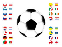 Soccer 2012. Soccer balls and flags on a white background Stock Photography