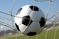 Soccer. Ball in goal. Score Stock Photography