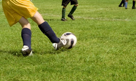 Soccer. A soccer player doing his job during a game Stock Images
