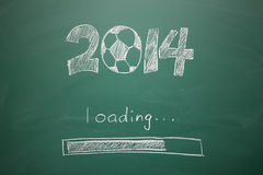 Soccer. With 2014 year concept, writing on blackboard Stock Illustration