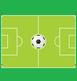 Soccer. A traditional soccer ball and field Royalty Free Stock Photos