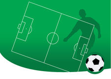 Soccer. Vector illustration of soccer ball and a soccer player silhouette Royalty Free Stock Image