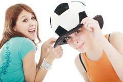 Soccer. Portrait of a styled professional models. Theme: teens, music Royalty Free Stock Images