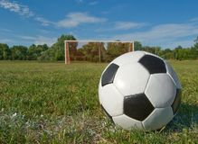 Soccer. Ball on a  field Stock Photo