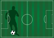 Soccer. Illustration of green terrain and player Stock Photo