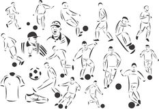 Soccer. 20 themed EPS images related to soccer. The number of vector nodes is absolute minimum. The images are very easy to use and edit and are extremely smooth Stock Photography