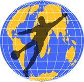 Soccer. A footballer silhouette kicking the ball in front of a globe Royalty Free Stock Photography