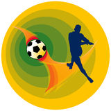 Soccer. A footballer silhouette kicking the ball Stock Images