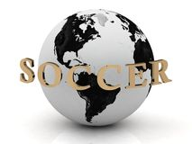SOCCER abstraction inscription around earth Royalty Free Stock Photo