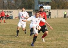Soccer action. PLACE:ZRENJANIN, SERBIA Royalty Free Stock Photo