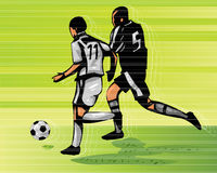 Soccer Action. 2D Digital Illustration Royalty Free Stock Photo