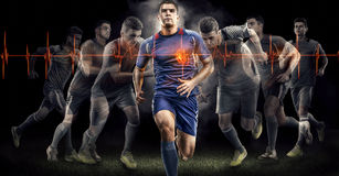 Soccer action on black. beating heart effect. Soccer players on black bakground. Cardio system royalty free stock images