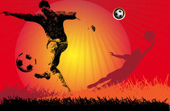 Soccer Action football Player. On trees original background Stock Image