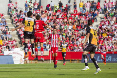 Soccer action. Some players in action at the Spanish Second Division League match between Girona FC and CD Lugo, final score 1 - 1, on June 7, 2015, in Girona stock images