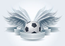Soccer angel banner. Highly detailed vector wings and soccer ball banner illustration. Elements are layered separately in vector file. Easy editable stock illustration