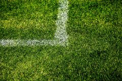 Soccer Angle Mark Line. Closeup Photo Of A Painted Square Corner On A Soccer Field Royalty Free Stock Photos