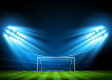 Soccer arena, stadium. Soccer stadium, arena in night illuminated bright spotlights. Vector
