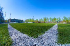 Soccer arena. In sunlight day Stock Image