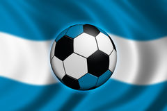 Soccer in Argentina. Soccer ball and flag of Argentina Stock Photos