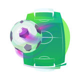 Soccer or association football ball and pitch Royalty Free Stock Photos