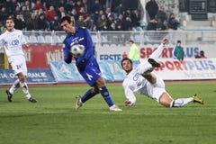 Soccer attacker. RIJEKA, CROATIA - NOVEMBER 27: soccer match between HNK Rijeka and HNK Dinamo. Undefined players (First Croatian Football League) NOVEMBER 27 royalty free stock images