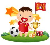 Soccer Baby. A baby playing soccer and winning Royalty Free Stock Photo