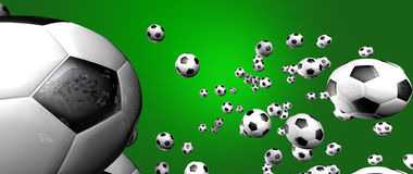 Soccer Background. Multiple amount of soccer balls scattered in different directions on a green background Stock Image