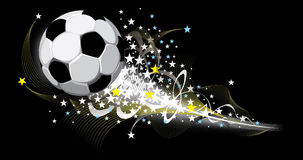 Soccer background. Festive fantasy football background. Flying ball . Vector image Stock Image