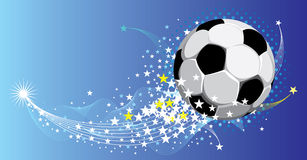 Soccer background. Festive fantasy football background. Flying ball . Vector image Stock Photos