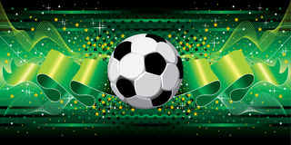 Soccer background. Festive fantasy football background. Flying ball . Vector image Royalty Free Stock Images